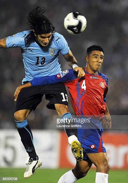 Sebastian Abreu of Uruguay scores the first goal during the 2010 FIFA World Cup Play Off Second Leg Match between Uruguay and Costa Rica at The...