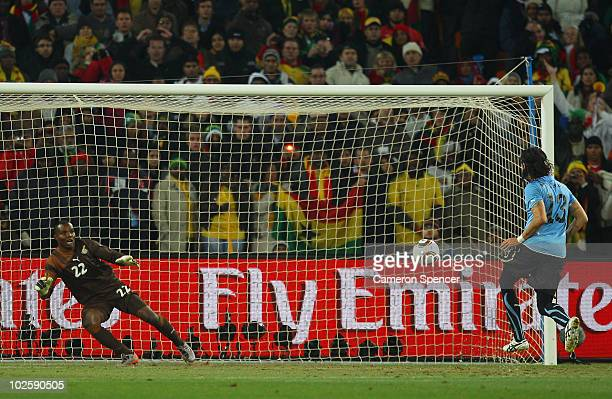 Sebastian Abreu of Uruguay shoots and scores the winning penalty in a penalty shoot out during the 2010 FIFA World Cup South Africa Quarter Final...
