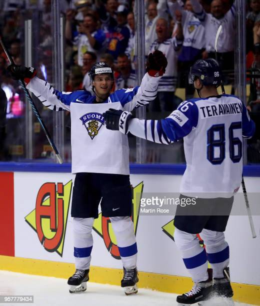 Sebastian Aho of Finland celebrate with his team mates after he scores a goal during the 2018 IIHF Ice Hockey World Championship Group B game between...