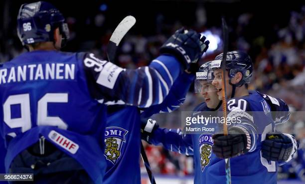 Sebastian Aho of Finland celebrate with team mate Teuvo Tervainen after he scores a goal during the 2018 IIHF Ice Hockey World Championship group...