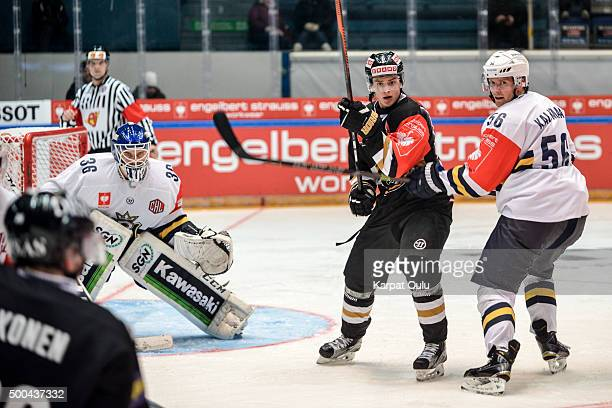 Sebastian Aho of Karpat Oulu and Kalle Kaijomaa of Espoo Blues during the Champions Hockey League quarter final between Karpat Oulu and Espoo Blues...