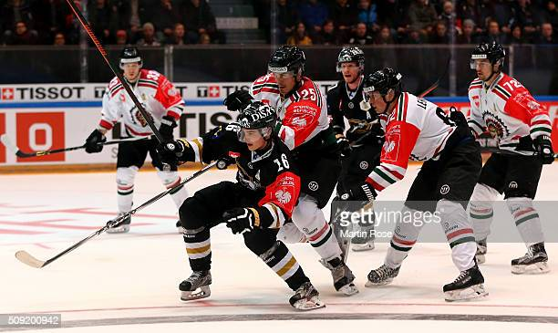 Sebastian Aho of Oulu and Oliver Lauridsen of Gothenburg battle for the puck during the Champions Hockey League final game between Karpat Oulu and...
