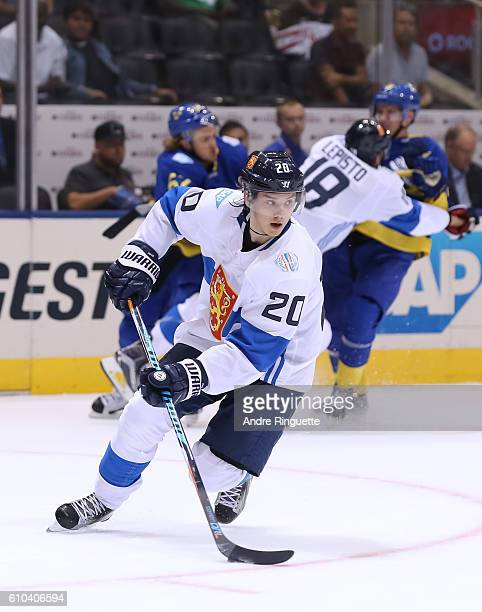 Sebastian Aho of Team Finland stickhandles the puck against Team Sweden during the World Cup of Hockey 2016 at Air Canada Centre on September 20 2016...