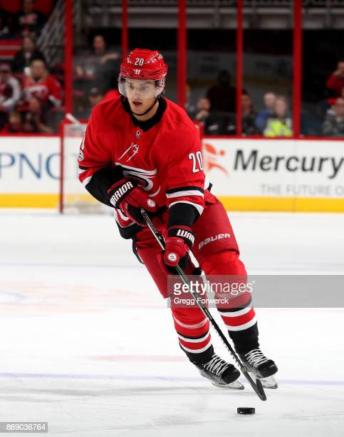 Sebastian Aho of the Carolina Hurricanes carries the puck during an NHL game against the St Louis Blues on October 27 2017 at PNC Arena in Raleigh...