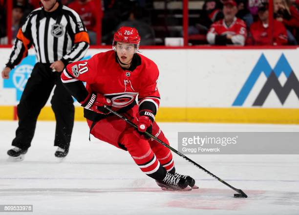 Sebastian Aho of the Carolina Hurricanes carries the puck during an NHL game against the Anaheim Ducks on October 29 2017 at PNC Arena in Raleigh...