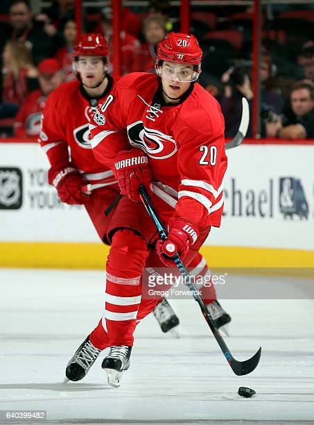 Sebastian Aho of the Carolina Hurricanes carries the puck through the neutral zone during an NHL game against the Los Angeles Kings on January 26...