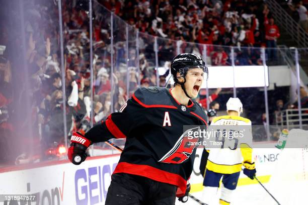 Sebastian Aho of the Carolina Hurricanes celebrates following a goal scored during the first period in Game Two of the First Round of the 2021...