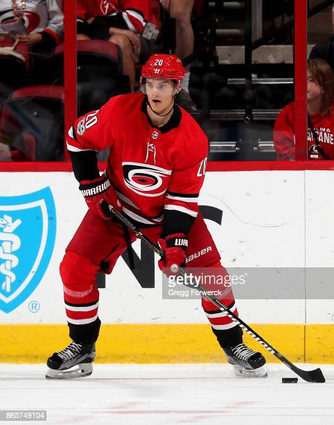 Sebastian Aho of the Carolina Hurricanes controls a puck on the ice during an NHL game against the Columbus Blue Jackets on October 10 2017 at PNC...