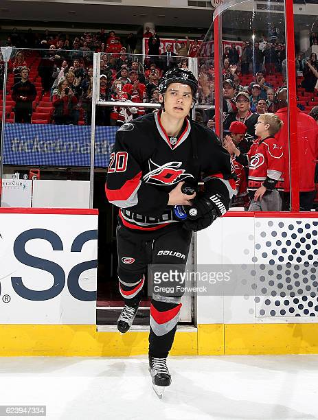 Sebastian Aho of the Carolina Hurricanes is named star of the game after scoring his first two NHL goals during an NHL game against the Washington...