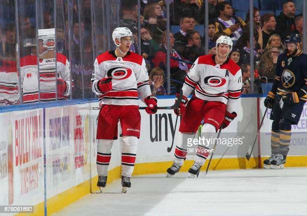 Sebastian Aho of the Carolina Hurricanes playing in his 100th NHL game celebrates his gamewinning goal against the Buffalo Sabres on November 18 2017...