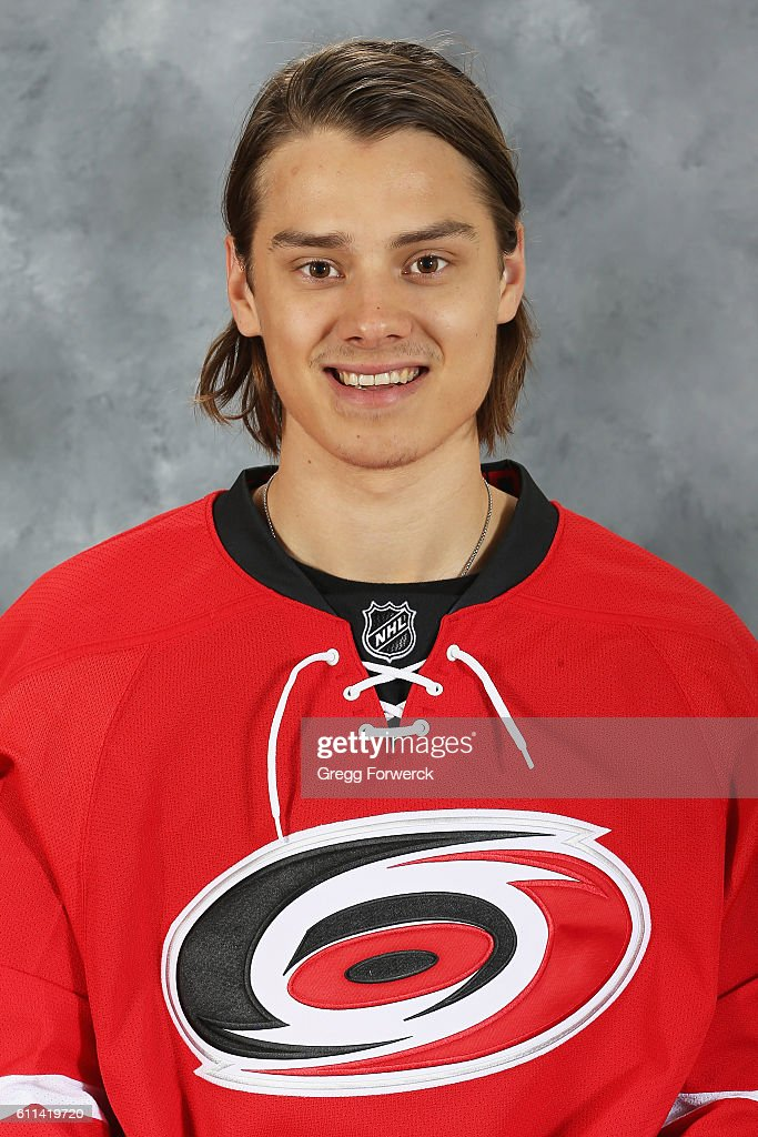 Sebastian Aho #20 of the Carolina Hurricanes poses for his official headshot for the 2016-2017 season on September 22, 2016 at PNC Arena in Raleigh, North Carolina.