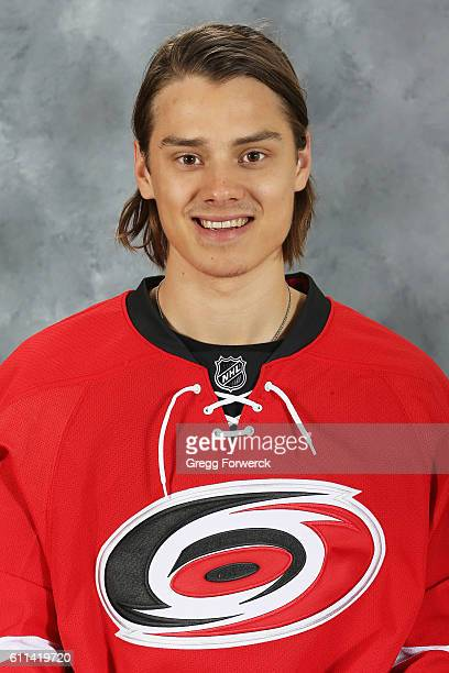 Sebastian Aho of the Carolina Hurricanes poses for his official headshot for the 20162017 season on September 22 2016 at PNC Arena in Raleigh North...