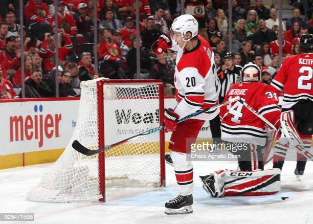 Sebastian Aho of the Carolina Hurricanes reacts after scoring against the Chicago Blackhawks in the third period at the United Center on March 8 2018...