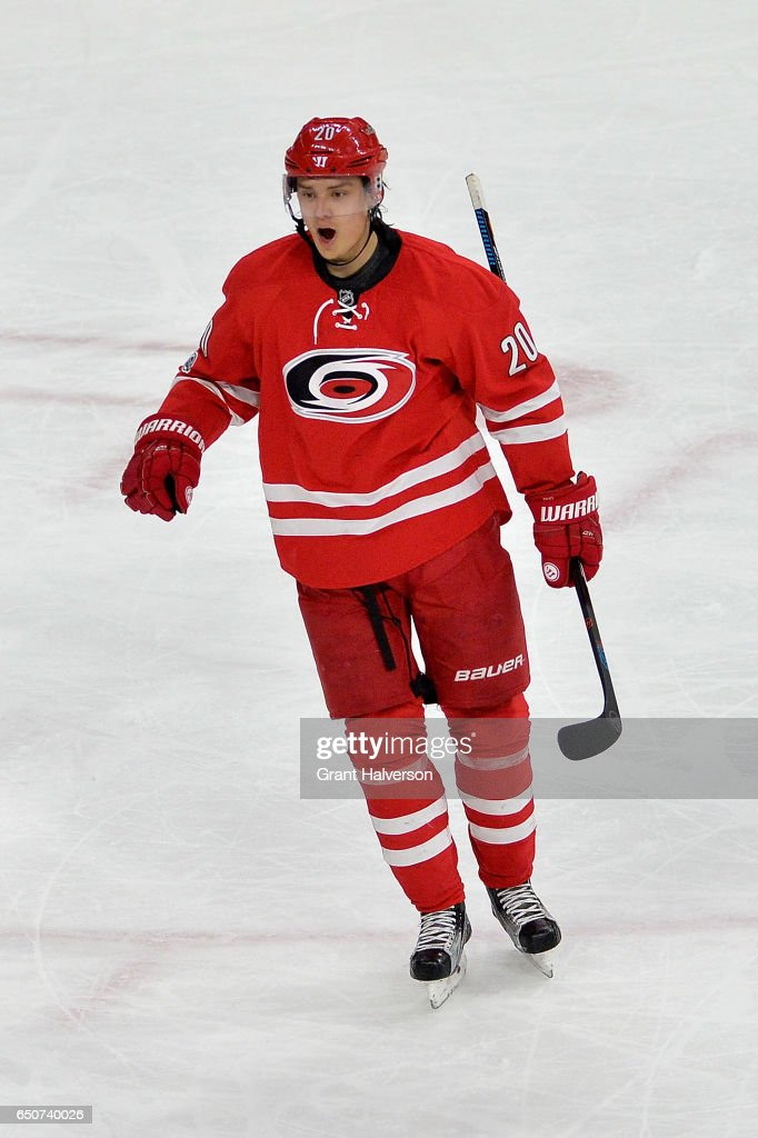 Sebastian Aho #20 of the Carolina Hurricanes reacts after scoring the game-winning goal against the New York Rangers during the third period of the game at PNC Arena on March 9, 2017 in Raleigh, North Carolina. The Hurricanes won 4-3.