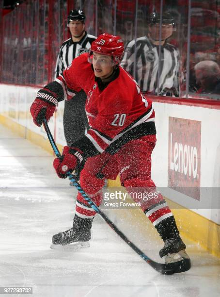 Sebastian Aho of the Carolina Hurricanes shoots the puck during an NHL game against the Winnipeg Jets on March 4 2018 at PNC Arena in Raleigh North...