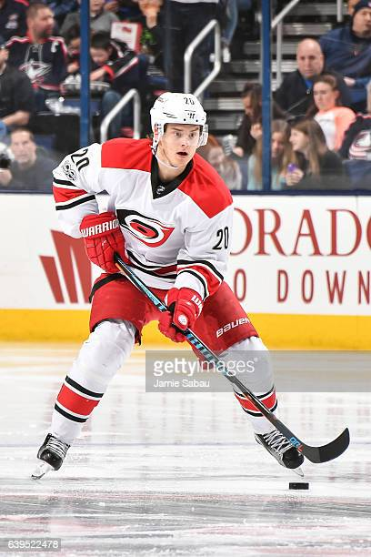Sebastian Aho of the Carolina Hurricanes skates against the Columbus Blue Jackets on January 21 2017 at Nationwide Arena in Columbus Ohio