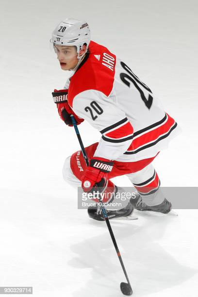 Sebastian Aho of the Carolina Hurricanes skates against the Minnesota Wild during the game at the Xcel Energy Center on March 6 2018 in St Paul...