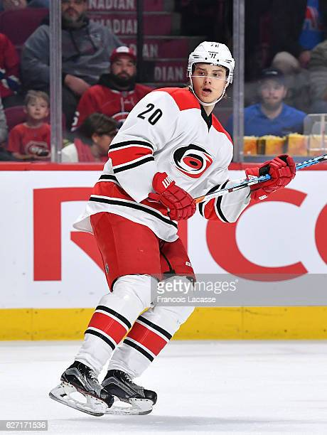 Sebastian Aho of the Carolina Hurricanes skates against the Montreal Canadiens in the NHL game at the Bell Centre on November 24 2016 in Montreal...