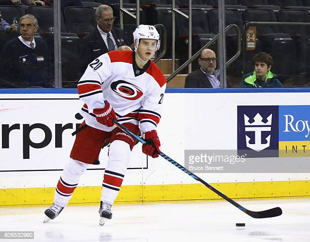 Sebastian Aho of the Carolina Hurricanes skates against the New York Rangers at Madison Square Garden on November 29 2016 in New York City The...
