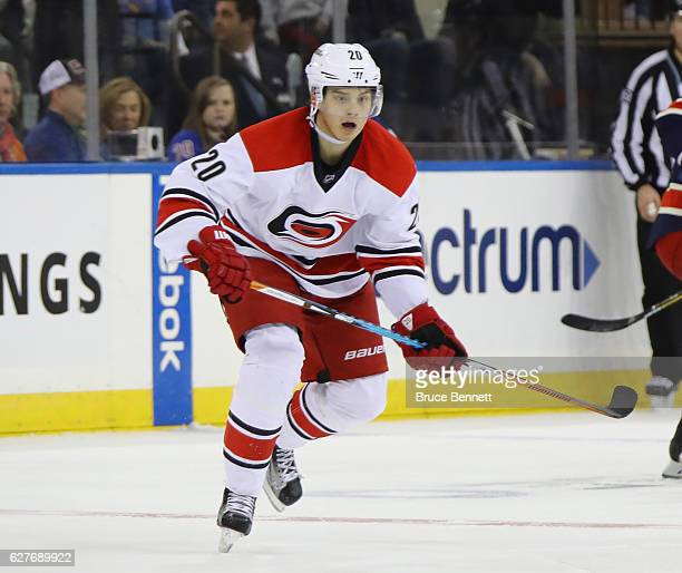 Sebastian Aho of the Carolina Hurricanes skates against the New York Rangers at Madison Square Garden on December 3 2016 in New York City The Rangers...