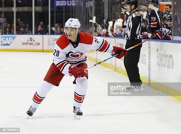 Sebastian Aho of the Carolina Hurricanes skates against the New York Rangers at Madison Square Garden on December 3 2016 in New York City The Rangers...