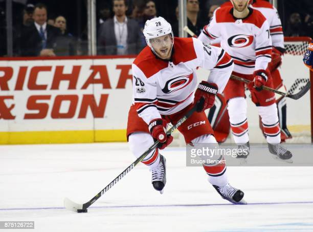 Sebastian Aho of the Carolina Hurricanes skates against the New York Islanders at the Barclays Center on November 16 2017 in the Brooklyn borough of...