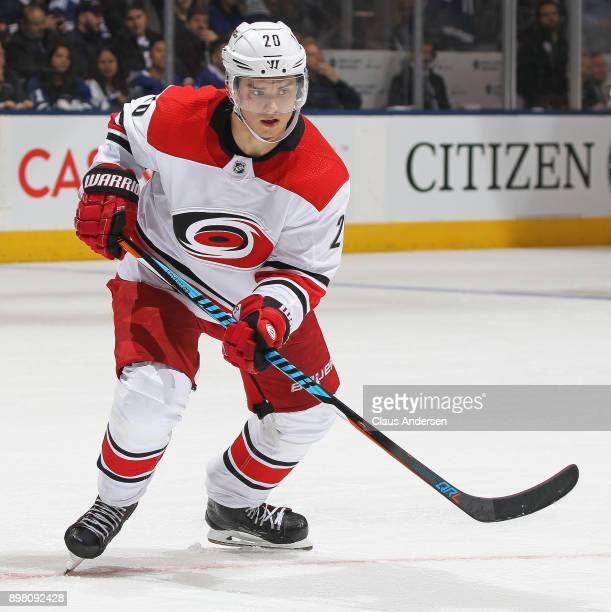 Sebastian Aho of the Carolina Hurricanes skates against the Toronto Maple Leafs during an NHL game at the Air Canada Centre on December 19 2017 in...