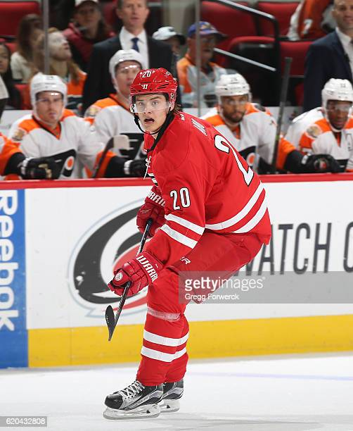 Sebastian Aho of the Carolina Hurricanes skates for position on the ice during an NHL game against the Philadephia Flyers on October 30 2016 at PNC...