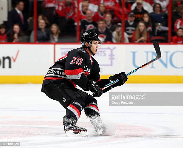 Sebastian Aho of the Carolina Hurricanes skates for position on the ice during an NHL game against the Washington Capitals on November 12 2016 at PNC...
