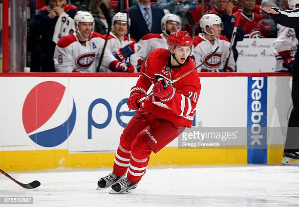 Sebastian Aho of the Carolina Hurricanes skates for position on the ice during an NHL game against the Montreal Canadiens on November 18 2016 at PNC...