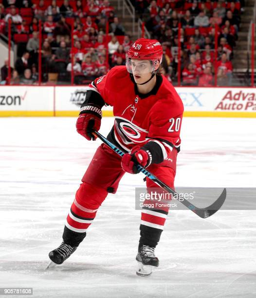 Sebastian Aho of the Carolina Hurricanes skates for position on the ice during an NHL game against the Washington Capitals on January 12 2018 at PNC...