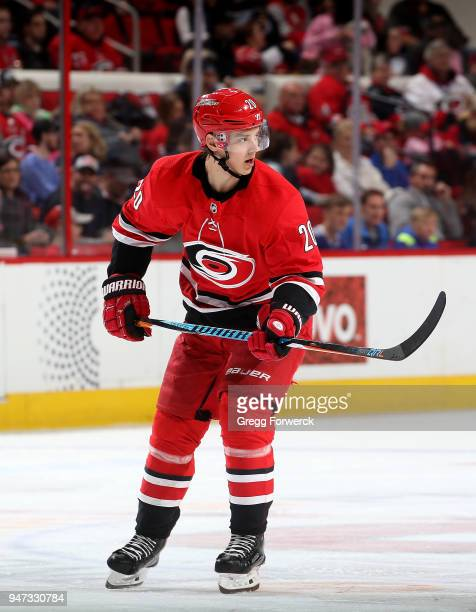 Sebastian Aho of the Carolina Hurricanes skates for postion on the ice during an NHL game against the Tampa Bay Lightning on April 7 2018 at PNC...
