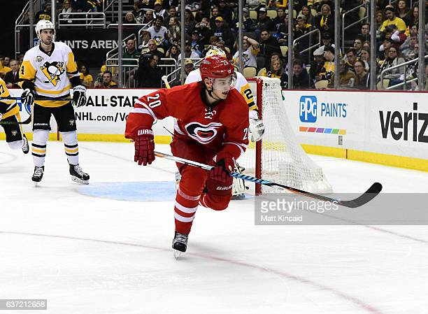 Sebastian Aho of the Carolina Hurricanes skates on the ice against the Pittsburgh Penguins at PPG PAINTS Arena on December 28 2016 in Pittsburgh...