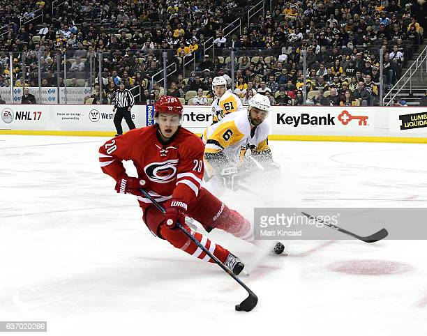 Sebastian Aho of the Carolina Hurricanes skates with the puck against the Pittsburgh Penguins at PPG PAINTS Arena on December 28 2016 in Pittsburgh...