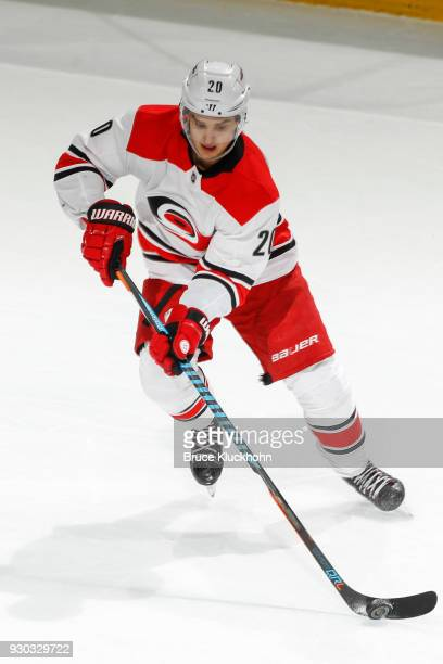 Sebastian Aho of the Carolina Hurricanes skates with the puck against the Minnesota Wild during the game at the Xcel Energy Center on March 6 2018 in...