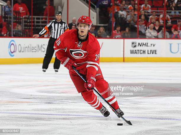Sebastian Aho of the Carolina Hurricanes skates with the puck during an NHL game against the Philadephia Flyers on October 30 2016 at PNC Arena in...