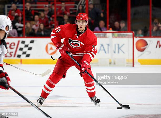 Sebastian Aho of the Carolina Hurricanes skates with the puck during an NHL game against the New Jersey Devils on November 6 2016 at PNC Arena in...