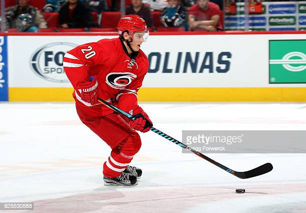 Sebastian Aho of the Carolina Hurricanes skates with the puck during an NHL game against the San Jose Sharks on November 15 2016 at PNC Arena in...