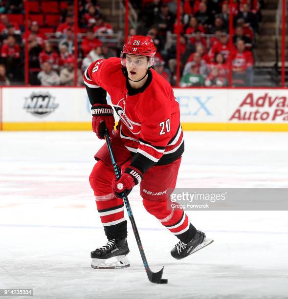 Sebastian Aho of the Carolina Hurricanes skates with the puck during an NHL game against the Ottawa Senators on January 30 2018 at PNC Arena in...