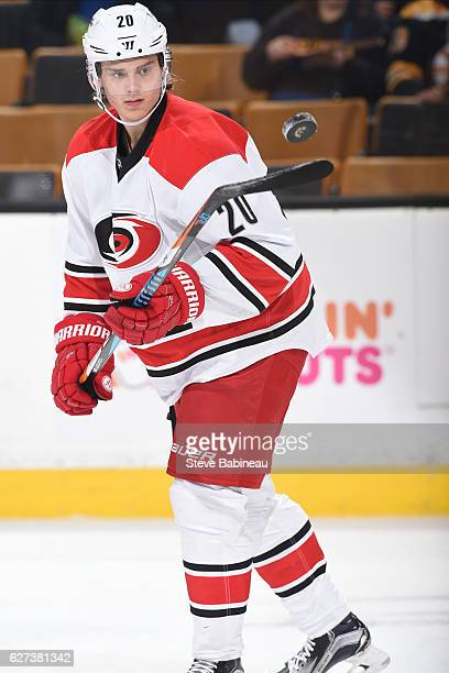 Sebastian Aho of the Carolina Hurricanes warms up before the game against the Boston Bruins at the TD Garden on December 1 2016 in Boston...