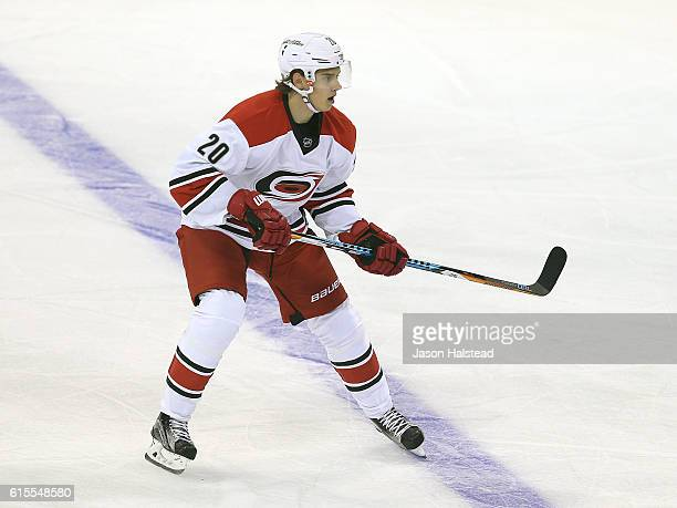 Sebastian Aho playing his first NHL game of the Carolina Hurricanes follows the puck during NHL action against the Winnipeg Jets on October 22 2016...