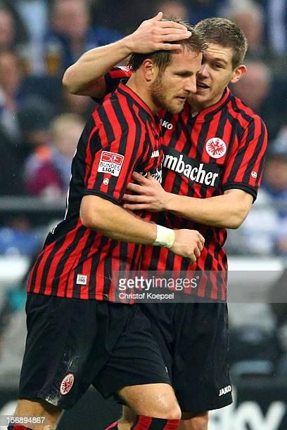 Sebastian Aigner of Frankfurt celebrates the first goal with Sebastian Jung during the Bundesliga match between FC Schalke 04 and Eintracht Frankfurt...