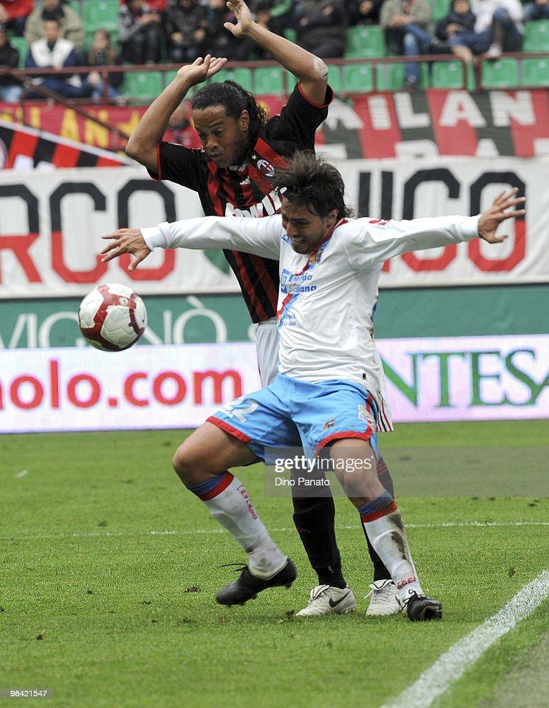Sebastian Alvarez of Catania competes with Ronaldinho of Milan during...  News Photo - Getty Images