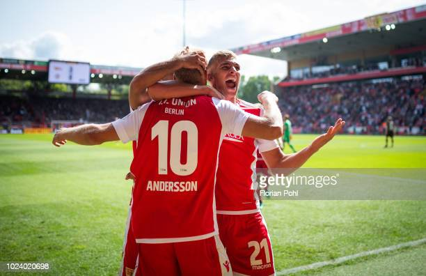 Sebastian Andersson and Grischa Proemel of 1.FC Union Berlin celebrate after scoring the 3:0 during the 2nd Bundesliga match between Union Berlin and...