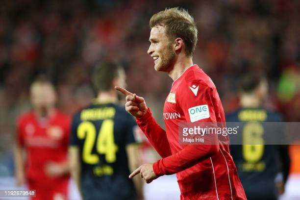 Sebastian Andersson of 1 FC Union Berlin celebrates after scoring his team's first goal during the Bundesliga match between 1 FC Union Berlin and 1...