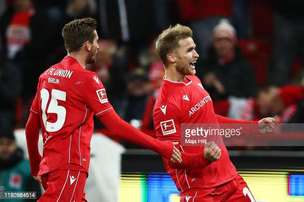 Sebastian Andersson of 1 FC Union Berlin celebrates after scoring his team's second goal during the Bundesliga match between 1 FC Union Berlin and 1...