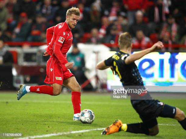 Sebastian Andersson of 1 FC Union Berlin scores his team's second goal during the Bundesliga match between 1 FC Union Berlin and 1 FC Koeln at...