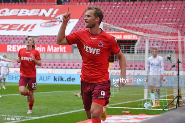 Sebastian Andersson of 1.FC Koeln celebrates a goal which was later disallowed during the Bundesliga match between 1. FC Koeln and FC Schalke 04 at...