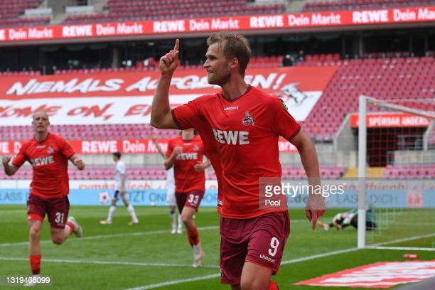 Sebastian Andersson of 1.FC Koeln celebrates after scoring a goal which was later disallowed by VAR during the Bundesliga match between 1. FC Koeln...