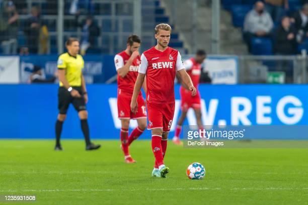 Sebastian Andersson of 1.FC Koeln looks dejected during the Bundesliga match between TSG Hoffenheim and 1. FC Köln at PreZero-Arena on October 15,...